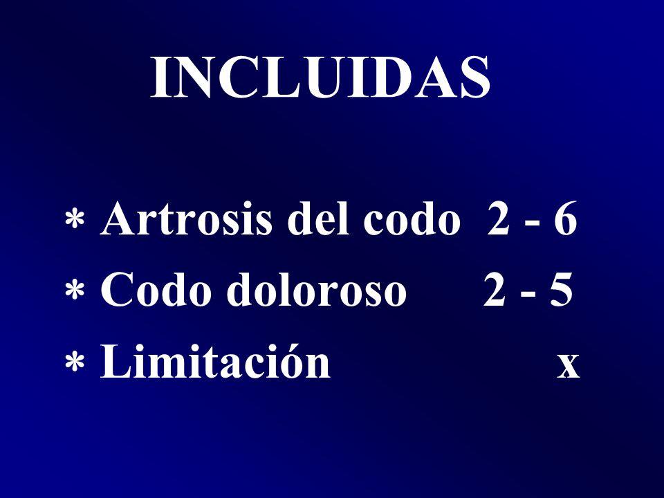 INCLUIDAS Artrosis del codo 2 - 6 Codo doloroso 2 - 5 Limitación x