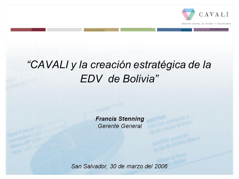 CAVALI y la creación estratégica de la EDV de Bolivia San Salvador, 30 de marzo del 2006 Francis Stenning Gerente General