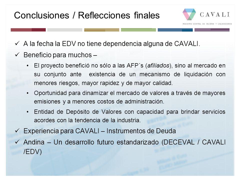 Conclusiones / Reflecciones finales A la fecha la EDV no tiene dependencia alguna de CAVALI. Beneficio para muchos – El proyecto benefició no sólo a l