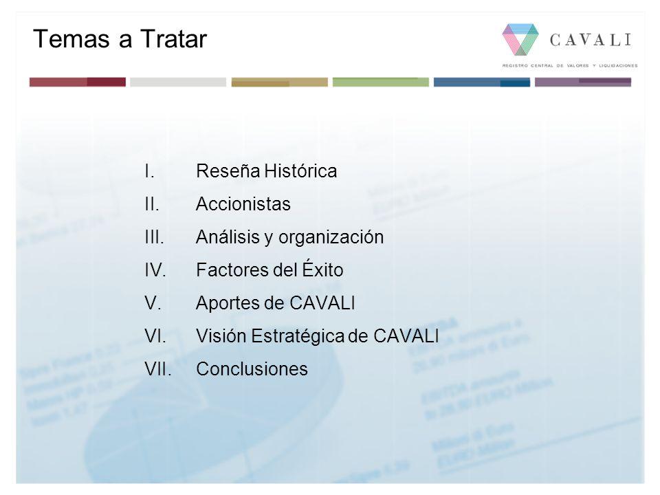 I.Reseña Histórica II.Accionistas III.Análisis y organización IV.Factores del Éxito V.Aportes de CAVALI VI.Visión Estratégica de CAVALI VII.Conclusion