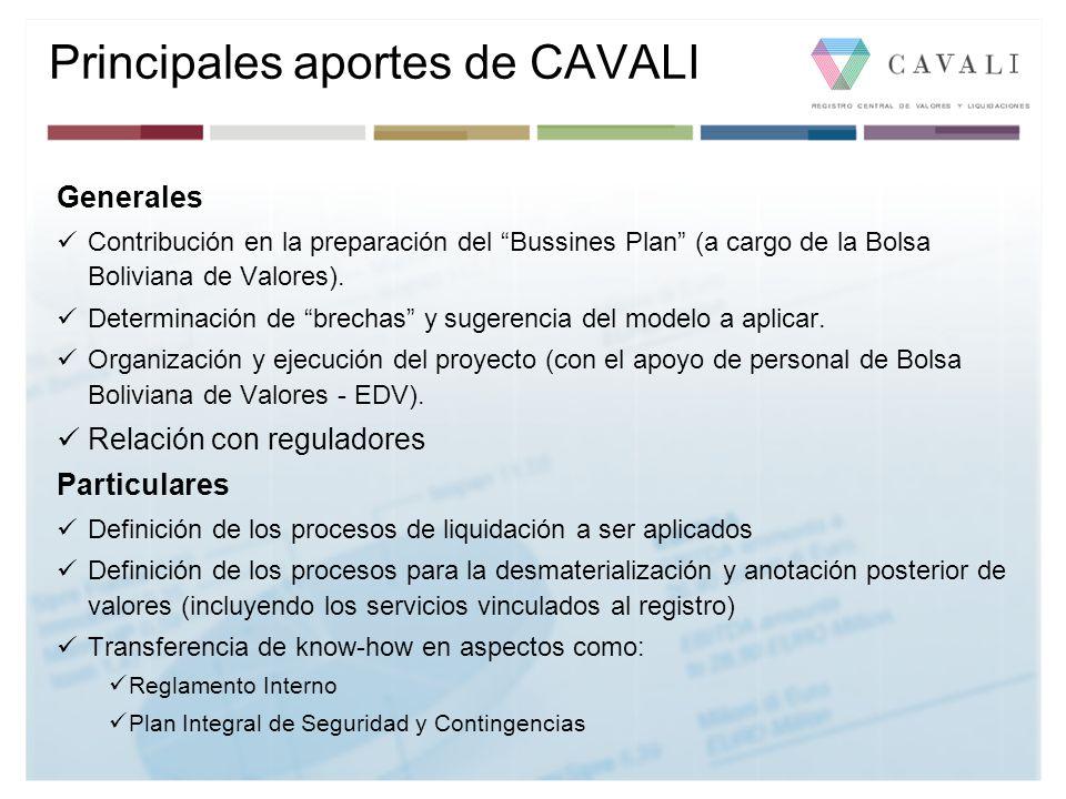 Principales aportes de CAVALI Generales Contribución en la preparación del Bussines Plan (a cargo de la Bolsa Boliviana de Valores). Determinación de