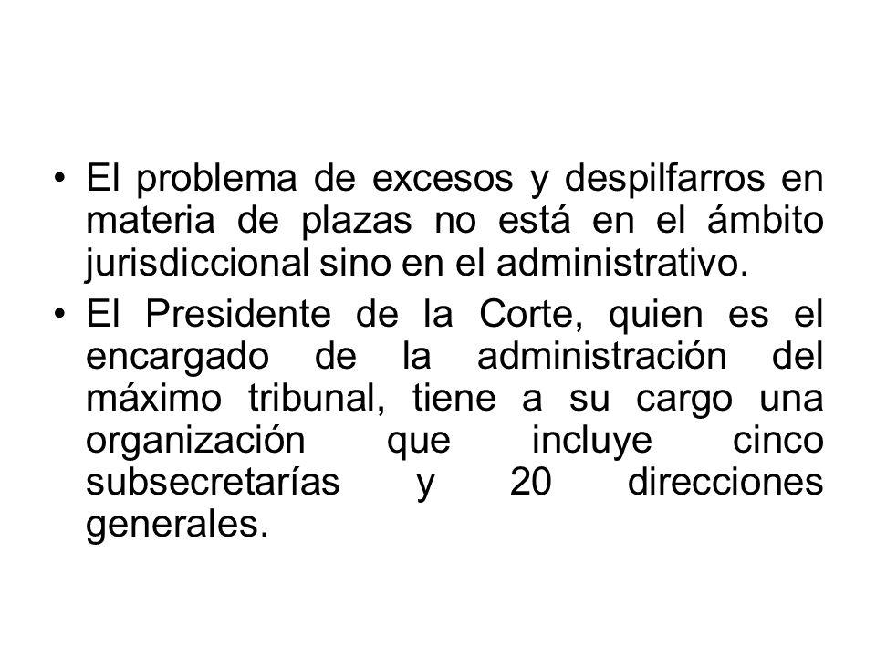 El problema de excesos y despilfarros en materia de plazas no está en el ámbito jurisdiccional sino en el administrativo. El Presidente de la Corte, q