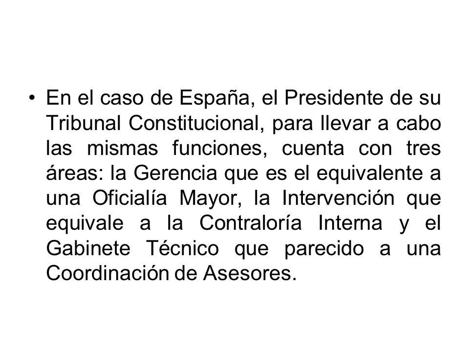 En el caso de España, el Presidente de su Tribunal Constitucional, para llevar a cabo las mismas funciones, cuenta con tres áreas: la Gerencia que es