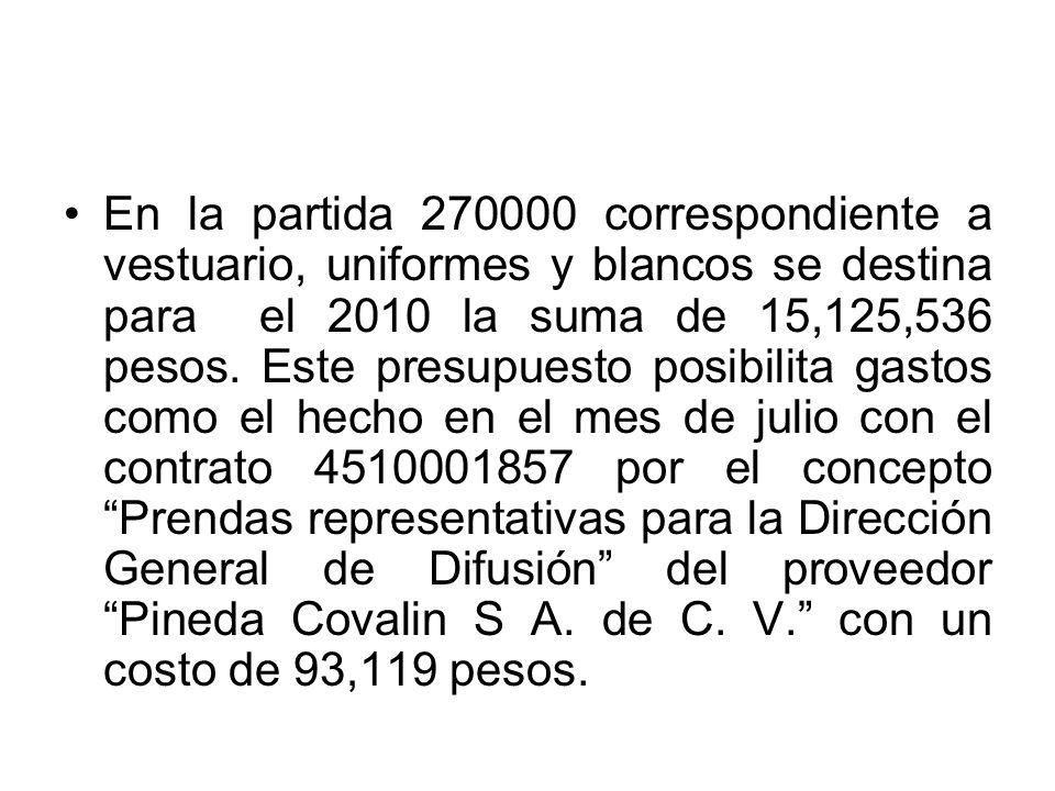 En la partida 270000 correspondiente a vestuario, uniformes y blancos se destina para el 2010 la suma de 15,125,536 pesos. Este presupuesto posibilita
