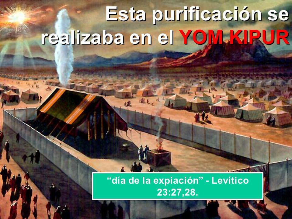 YOM KIPUR Esta purificación se realizaba en el YOM KIPUR día de la expiación - Levítico 23:27,28.