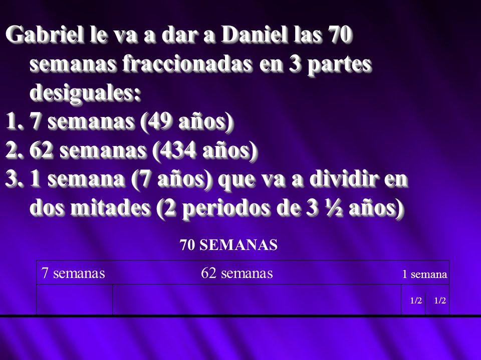 Gabriel le va a dar a Daniel las 70 semanas fraccionadas en 3 partes desiguales: 1.7 semanas (49 años) 2.62 semanas (434 años) 3.1 semana (7 años) que