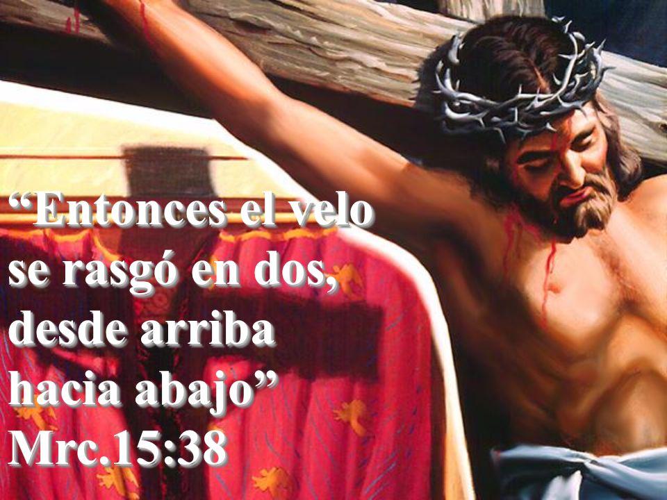 Entonces el velo se rasgó en dos, desde arriba hacia abajo Mrc.15:38 Mrc.15:38