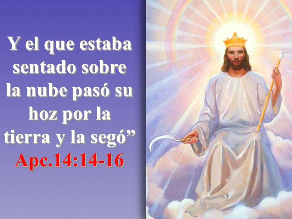 Y el que estaba sentado sobre la nube pasó su hoz por la tierra y la segó Apc.14:14-16 Apc.14:14-16