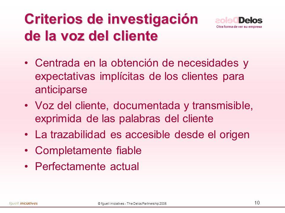 Otra forma de ver su empresa © fguell iniciatives - The Delos Partnership 2005 9 Voz del Cliente Como entender la voz del cliente ¿Quién es el cliente
