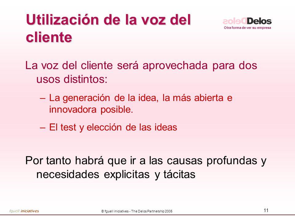 Otra forma de ver su empresa © fguell iniciatives - The Delos Partnership 2005 10 Criterios de investigación de la voz del cliente Centrada en la obte