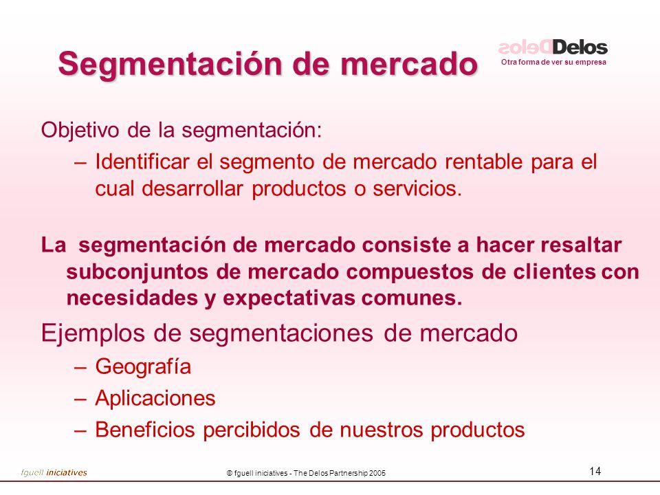 Otra forma de ver su empresa © fguell iniciatives - The Delos Partnership 2005 13 Entender quienes son nuestros clientes