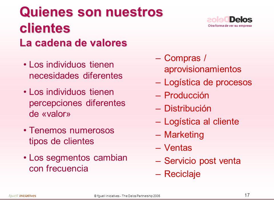 Otra forma de ver su empresa © fguell iniciatives - The Delos Partnership 2005 16 Elección de segmentos y diferenciación LOS CLIENTES QUE NO PODEMOS P