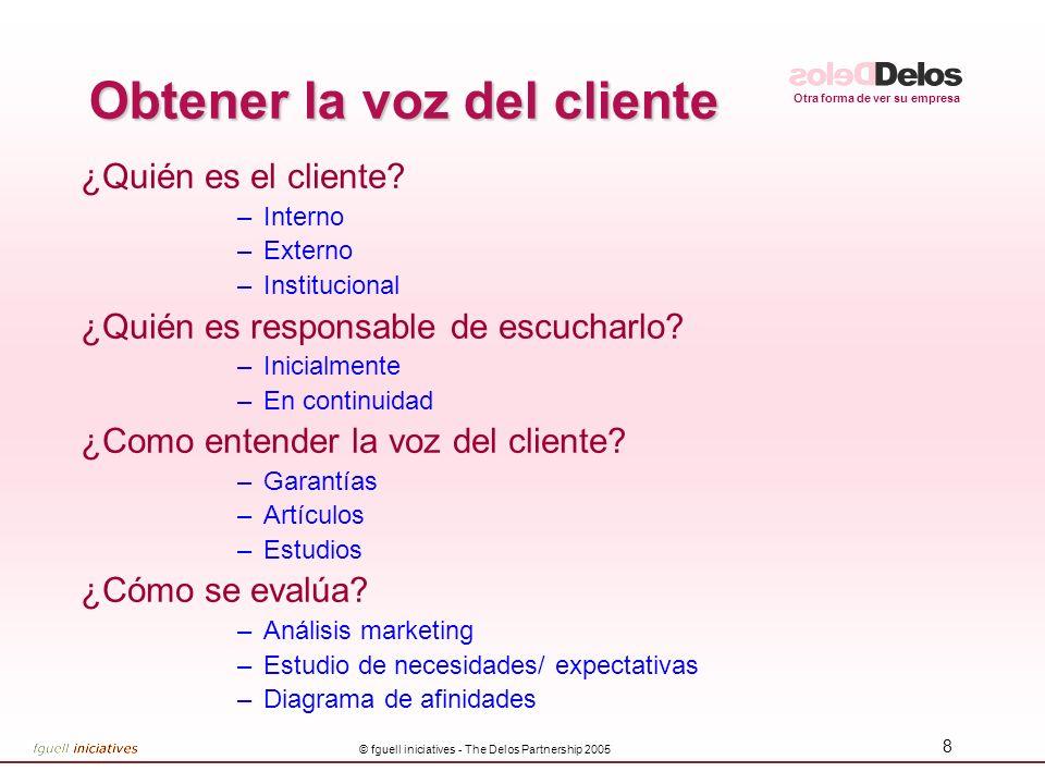 Otra forma de ver su empresa © fguell iniciatives - The Delos Partnership 2005 8 Obtener la voz del cliente ¿Quién es el cliente.