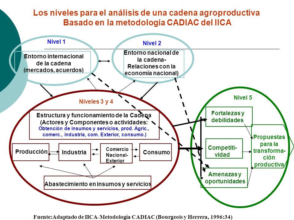 Nivel 1 Entorno internacional de la cadena (mercados, acuerdos) Nivel 2 Entorno nacional de la cadena- Relaciones con la economía nacional) Producción