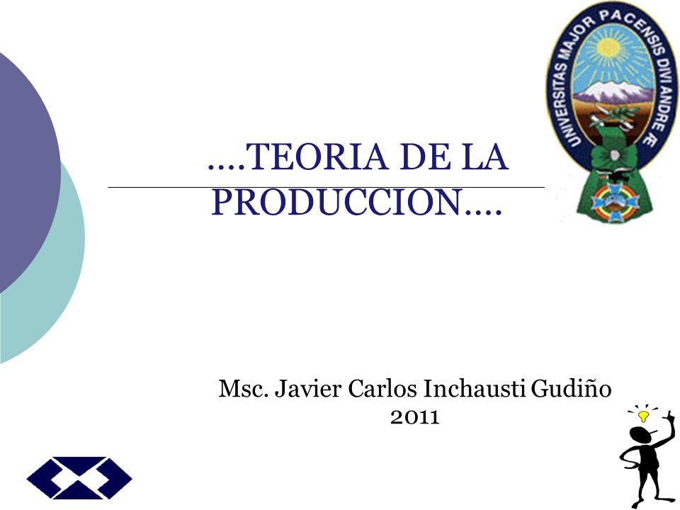 TEORÍA DE LA PRODUCCIÓN Analiza la forma en que el productor dado el estado de arte o la tecnologia combina varios insumos para producir una cantidad estipulada en una forma economicamente eficiente.