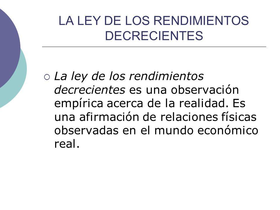 LA LEY DE LOS RENDIMIENTOS DECRECIENTES La ley de los rendimientos decrecientes es una observación empírica acerca de la realidad. Es una afirmación d