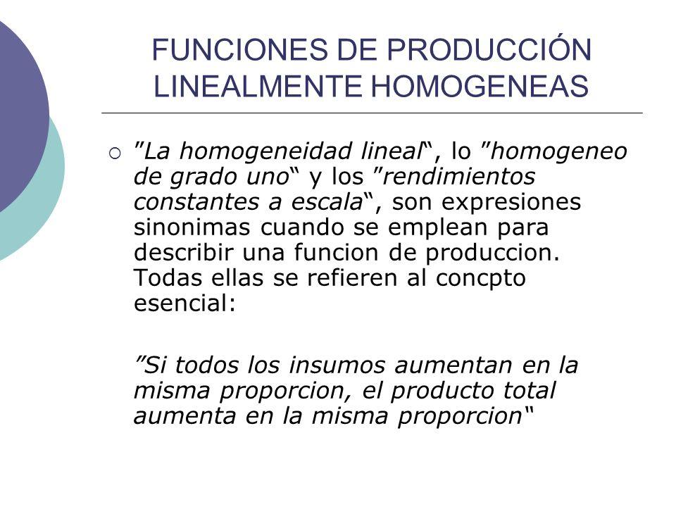 FUNCIONES DE PRODUCCIÓN LINEALMENTE HOMOGENEAS La homogeneidad lineal, lo homogeneo de grado uno y los rendimientos constantes a escala, son expresion