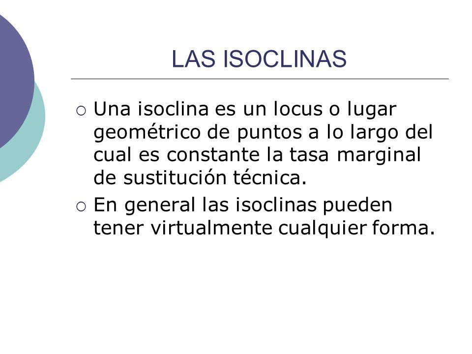 LAS ISOCLINAS Una isoclina es un locus o lugar geométrico de puntos a lo largo del cual es constante la tasa marginal de sustitución técnica. En gener