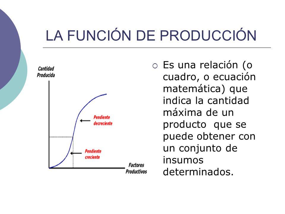 LA FUNCIÓN DE PRODUCCIÓN La función de producción relaciona la cantidad de factores productivos utilizada (mano de obra, maquinaria, materia prima, otros suministros, etc.) con la producción obtenida de un determinado bien.