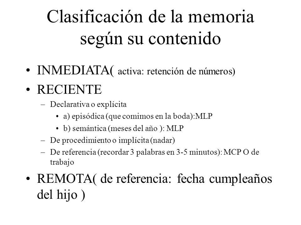 Clasificación de la memoria según su contenido INMEDIATA( activa: retención de números) RECIENTE –Declarativa o explícita a) episódica (que comimos en