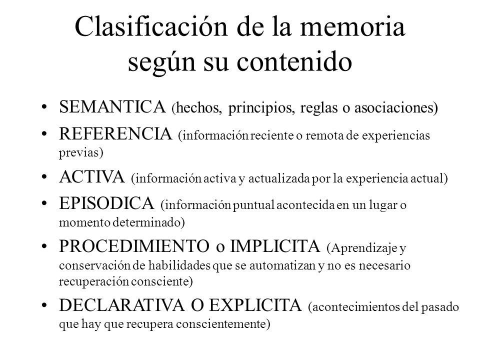 Clasificación de la memoria según su contenido SEMANTICA ( hechos, principios, reglas o asociaciones) REFERENCIA (información reciente o remota de exp