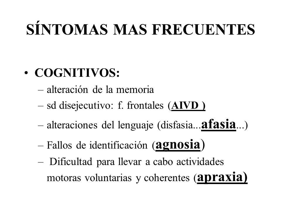 SÍNTOMAS MAS FRECUENTES COGNITIVOS: –alteración de la memoria –sd disejecutivo: f. frontales (AIVD ) –alteraciones del lenguaje (disfasia... afasia...