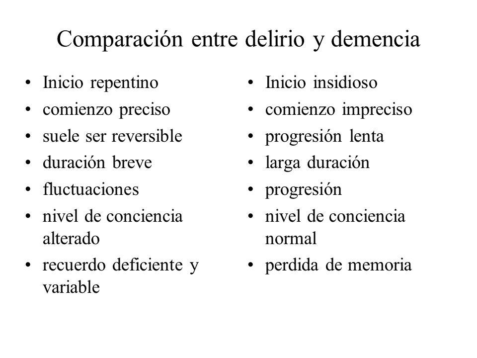 Comparación entre delirio y demencia Inicio repentino comienzo preciso suele ser reversible duración breve fluctuaciones nivel de conciencia alterado