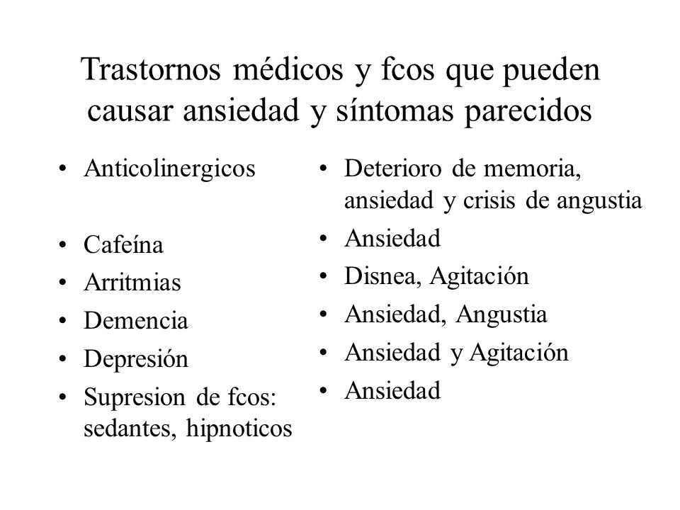 Trastornos médicos y fcos que pueden causar ansiedad y síntomas parecidos Anticolinergicos Cafeína Arritmias Demencia Depresión Supresion de fcos: sed