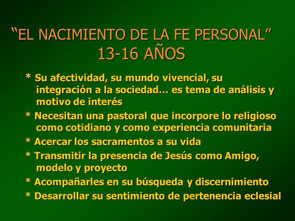 EL NACIMIENTO DE LA FE PERSONAL 13-16 AÑOS EL NACIMIENTO DE LA FE PERSONAL 13-16 AÑOS * Su afectividad, su mundo vivencial, su integración a la socied