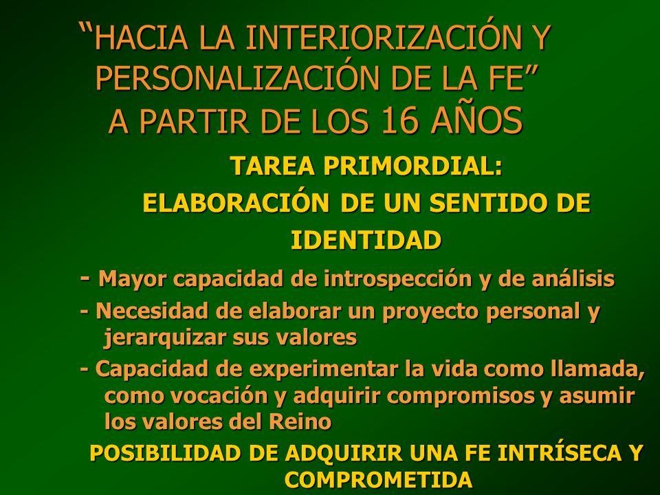 HACIA LA INTERIORIZACIÓN Y PERSONALIZACIÓN DE LA FE A PARTIR DE LOS 16 AÑOS HACIA LA INTERIORIZACIÓN Y PERSONALIZACIÓN DE LA FE A PARTIR DE LOS 16 AÑO