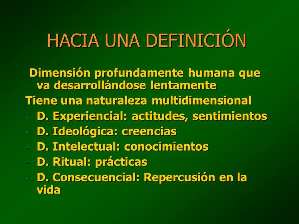 HACIA UNA DEFINICIÓN Dimensión profundamente humana que va desarrollándose lentamente Dimensión profundamente humana que va desarrollándose lentamente