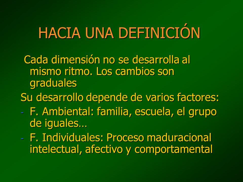HACIA UNA DEFINICIÓN Cada dimensión no se desarrolla al mismo ritmo. Los cambios son graduales Cada dimensión no se desarrolla al mismo ritmo. Los cam