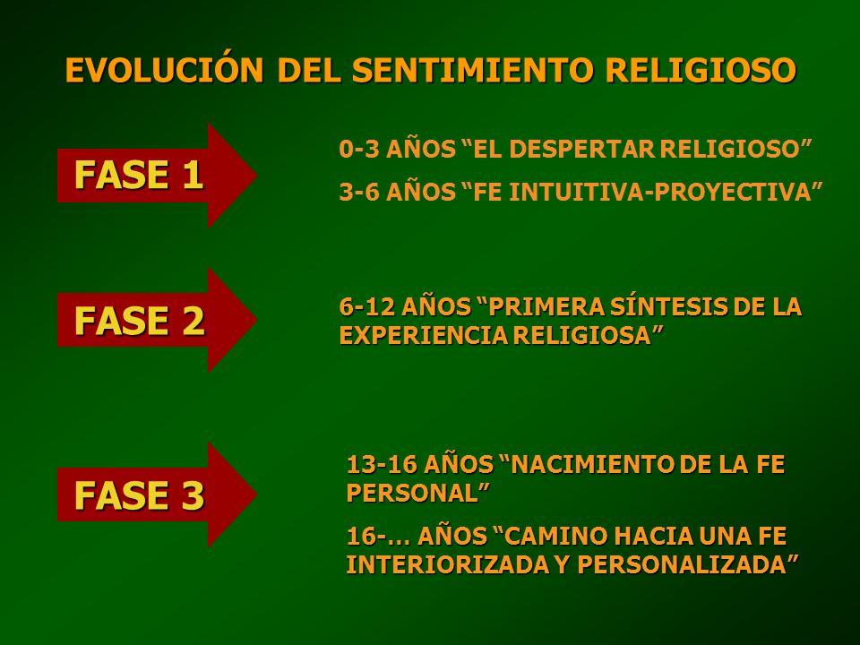 FASE 1 0-3 AÑOS EL DESPERTAR RELIGIOSO 3-6 AÑOS FE INTUITIVA-PROYECTIVA FASE 2 6-12 AÑOS PRIMERA SÍNTESIS DE LA EXPERIENCIA RELIGIOSA FASE 3 13-16 AÑO
