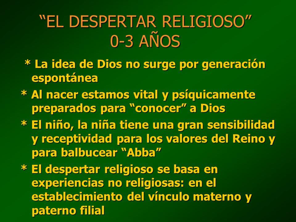 EL DESPERTAR RELIGIOSO 0-3 AÑOS * La idea de Dios no surge por generación espontánea * La idea de Dios no surge por generación espontánea * Al nacer e