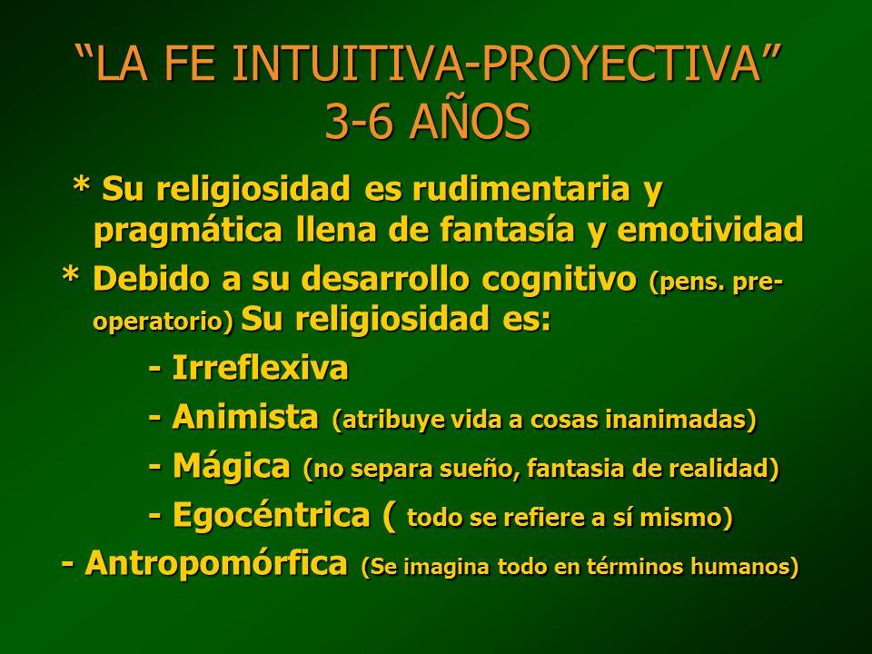 LA FE INTUITIVA-PROYECTIVA 3-6 AÑOS * Su religiosidad es rudimentaria y pragmática llena de fantasía y emotividad * Su religiosidad es rudimentaria y