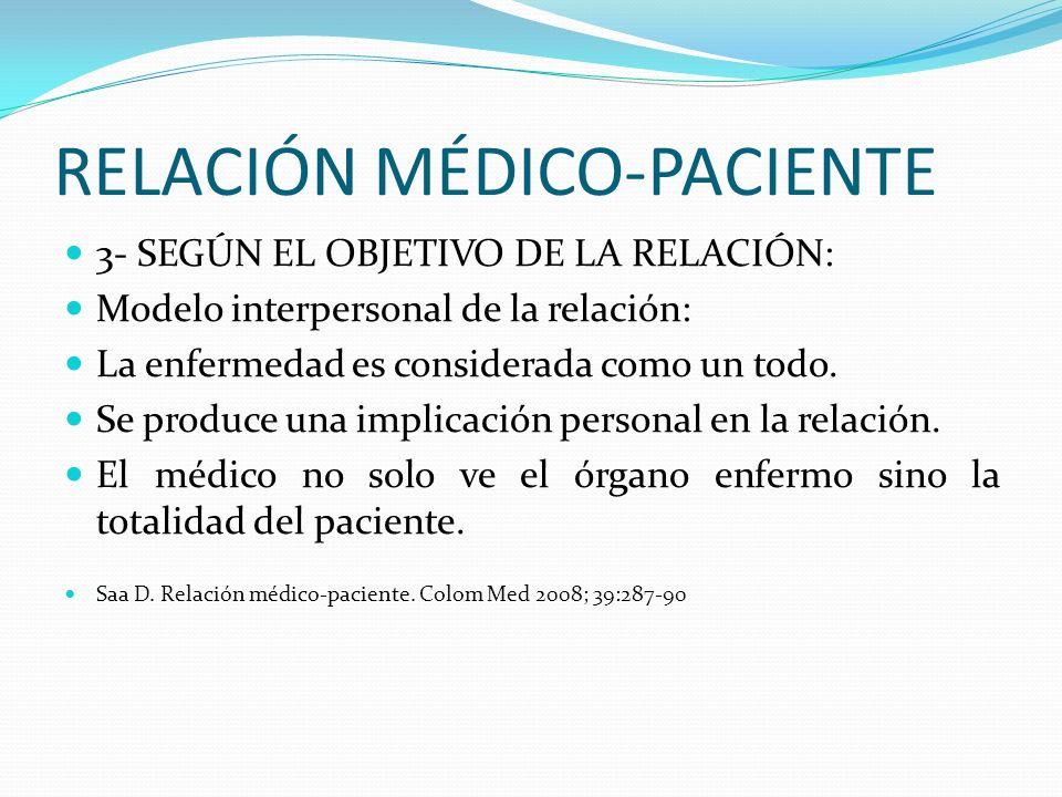 RELACIÓN MÉDICO-PACIENTE 3- SEGÚN EL OBJETIVO DE LA RELACIÓN: Modelo interpersonal de la relación: La enfermedad es considerada como un todo. Se produ
