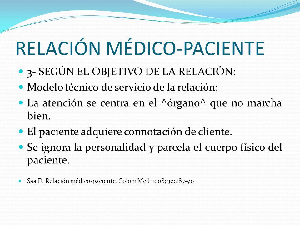 RELACIÓN MÉDICO-PACIENTE 3- SEGÚN EL OBJETIVO DE LA RELACIÓN: Modelo técnico de servicio de la relación: La atención se centra en el ^órgano^ que no m