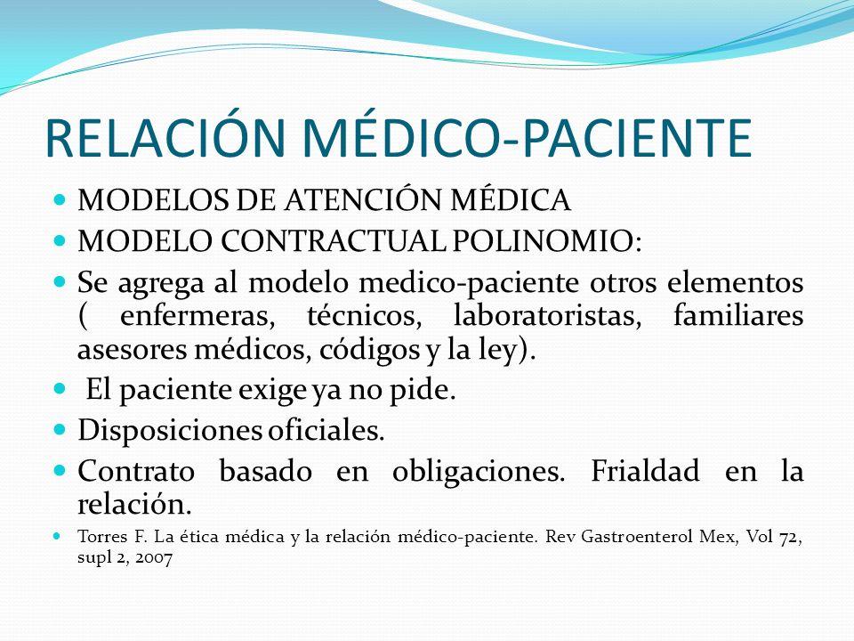 RELACIÓN MÉDICO-PACIENTE MODELOS DE ATENCIÓN MÉDICA MODELO CONTRACTUAL POLINOMIO: Se agrega al modelo medico-paciente otros elementos ( enfermeras, té