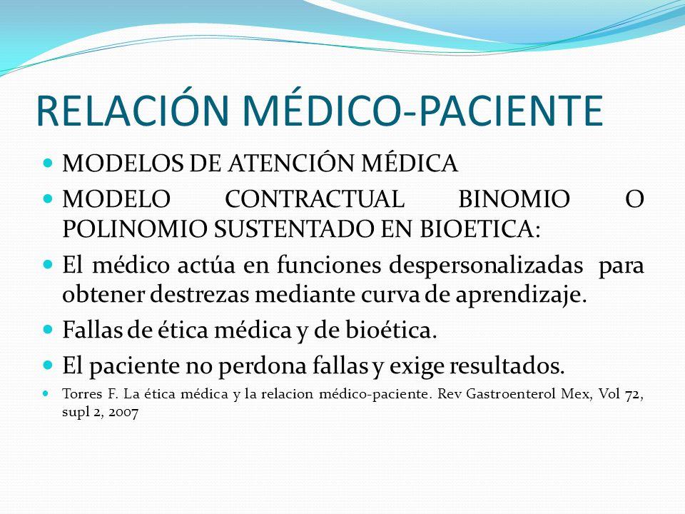RELACIÓN MÉDICO-PACIENTE MODELOS DE ATENCIÓN MÉDICA MODELO CONTRACTUAL BINOMIO O POLINOMIO SUSTENTADO EN BIOETICA: El médico actúa en funciones desper