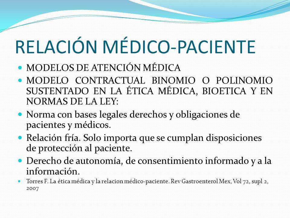 RELACIÓN MÉDICO-PACIENTE MODELOS DE ATENCIÓN MÉDICA MODELO CONTRACTUAL BINOMIO O POLINOMIO SUSTENTADO EN LA ÉTICA MÉDICA, BIOETICA Y EN NORMAS DE LA L