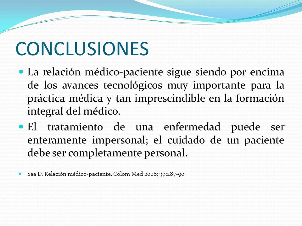CONCLUSIONES La relación médico-paciente sigue siendo por encima de los avances tecnológicos muy importante para la práctica médica y tan imprescindib