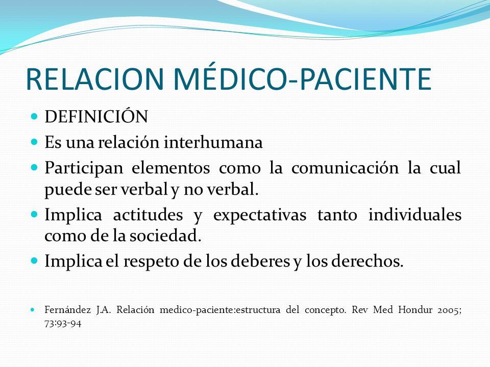 RELACION MÉDICO-PACIENTE DEFINICIÓN Es una relación interhumana Participan elementos como la comunicación la cual puede ser verbal y no verbal. Implic