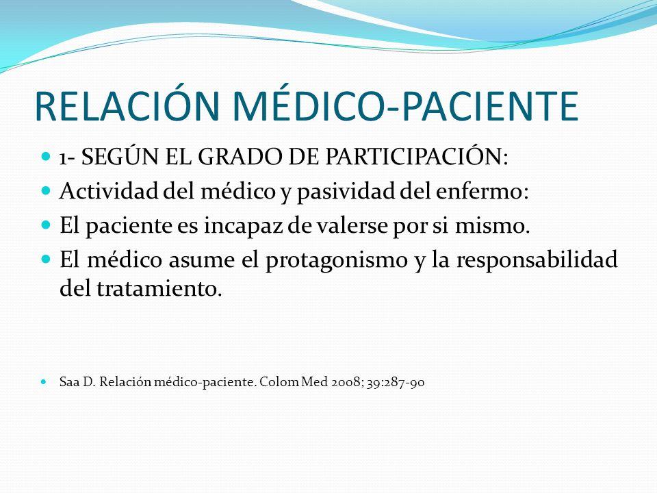 RELACIÓN MÉDICO-PACIENTE 1- SEGÚN EL GRADO DE PARTICIPACIÓN: Actividad del médico y pasividad del enfermo: El paciente es incapaz de valerse por si mi