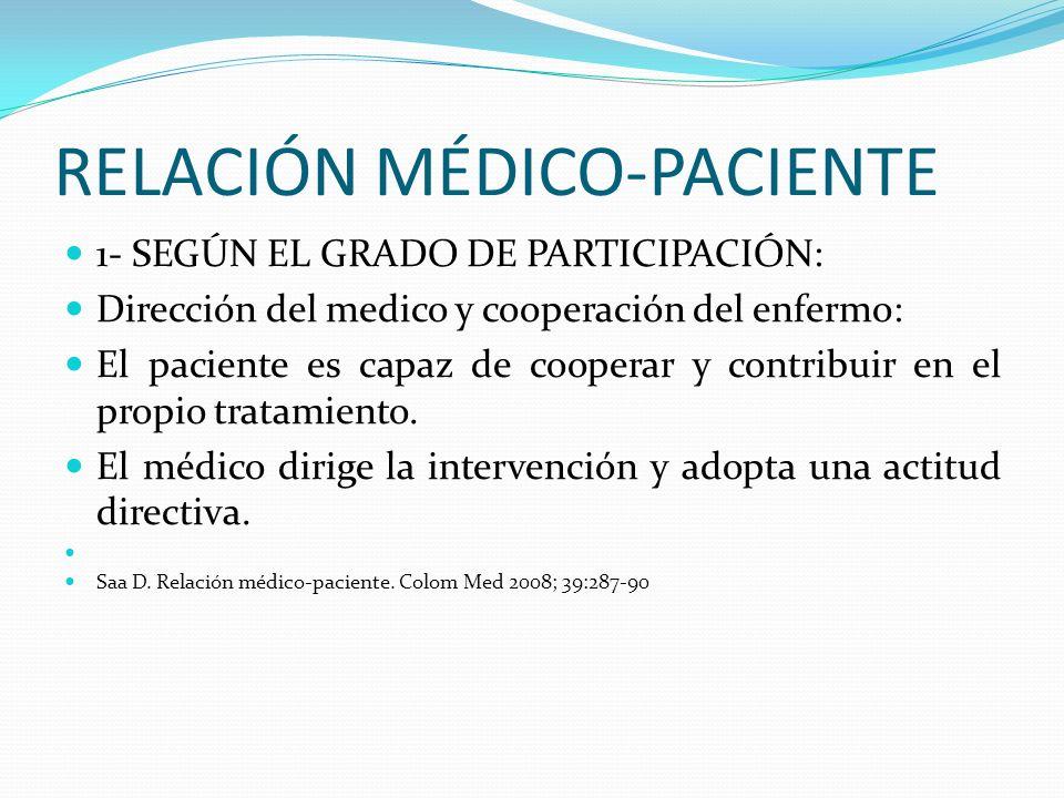 RELACIÓN MÉDICO-PACIENTE 1- SEGÚN EL GRADO DE PARTICIPACIÓN: Dirección del medico y cooperación del enfermo: El paciente es capaz de cooperar y contri