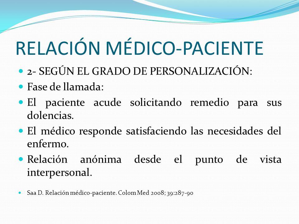 RELACIÓN MÉDICO-PACIENTE 2- SEGÚN EL GRADO DE PERSONALIZACIÓN: Fase de llamada: El paciente acude solicitando remedio para sus dolencias. El médico re