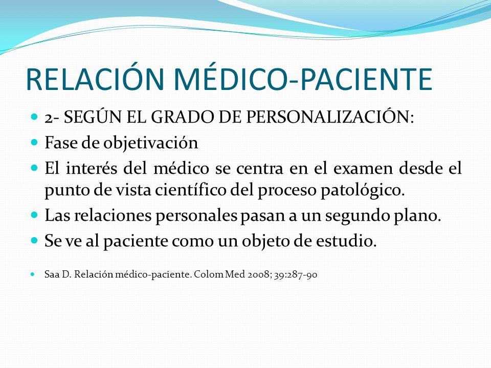 RELACIÓN MÉDICO-PACIENTE 2- SEGÚN EL GRADO DE PERSONALIZACIÓN: Fase de objetivación El interés del médico se centra en el examen desde el punto de vis