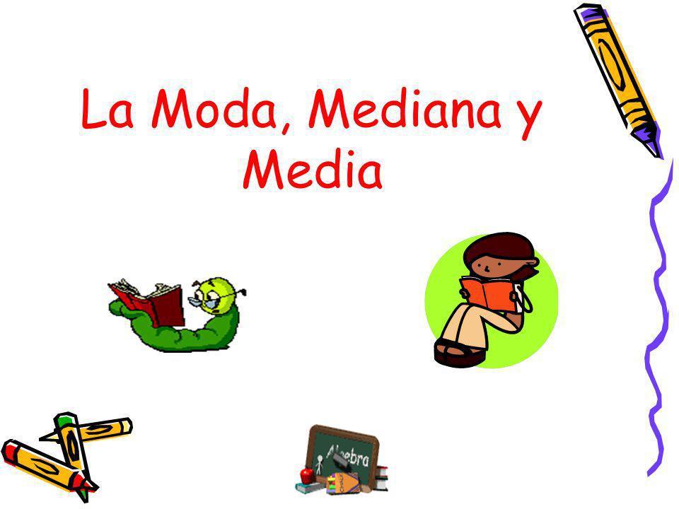 Ejemplo de Media 12,5,7,4,6,5,8,3,5,2,5 La media es 12+5+7+4+6+5+8+3+5+2+5 = 62 =5.64 11