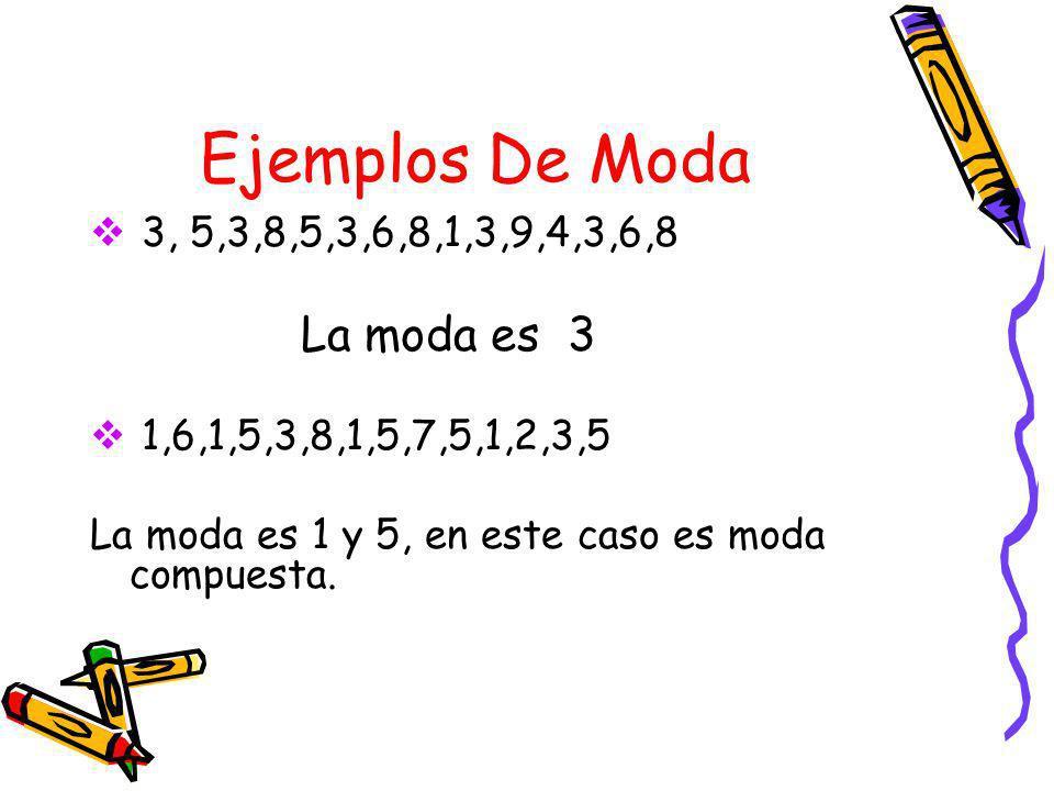 Definición De Moda La moda es el o los números que ocurren con mayor frecuencia en un conjunto de datos.