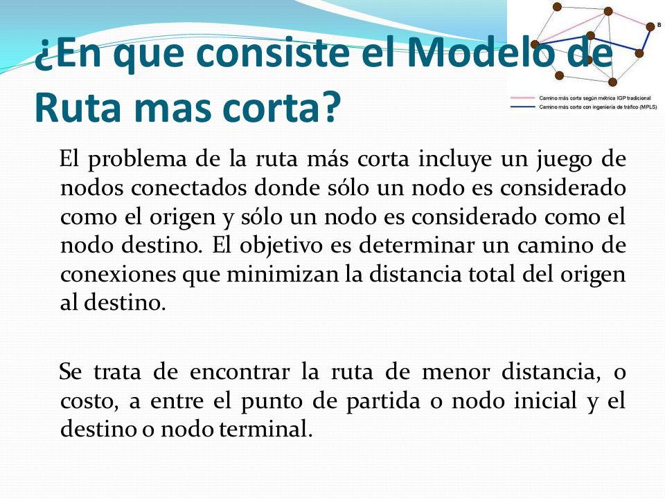 ¿En que consiste el Modelo de Ruta mas corta? El problema de la ruta más corta incluye un juego de nodos conectados donde sólo un nodo es considerado