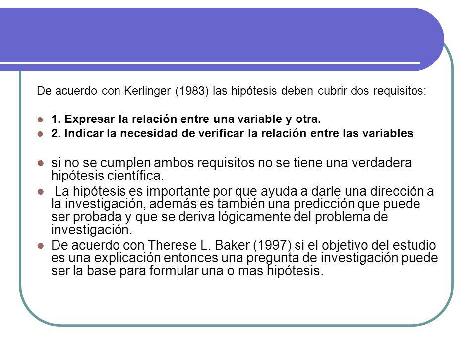 De acuerdo con Kerlinger (1983) las hipótesis deben cubrir dos requisitos: 1. Expresar la relación entre una variable y otra. 2. Indicar la necesidad